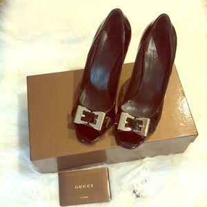 GUCCI Peep Toe Patent Lamb Heels